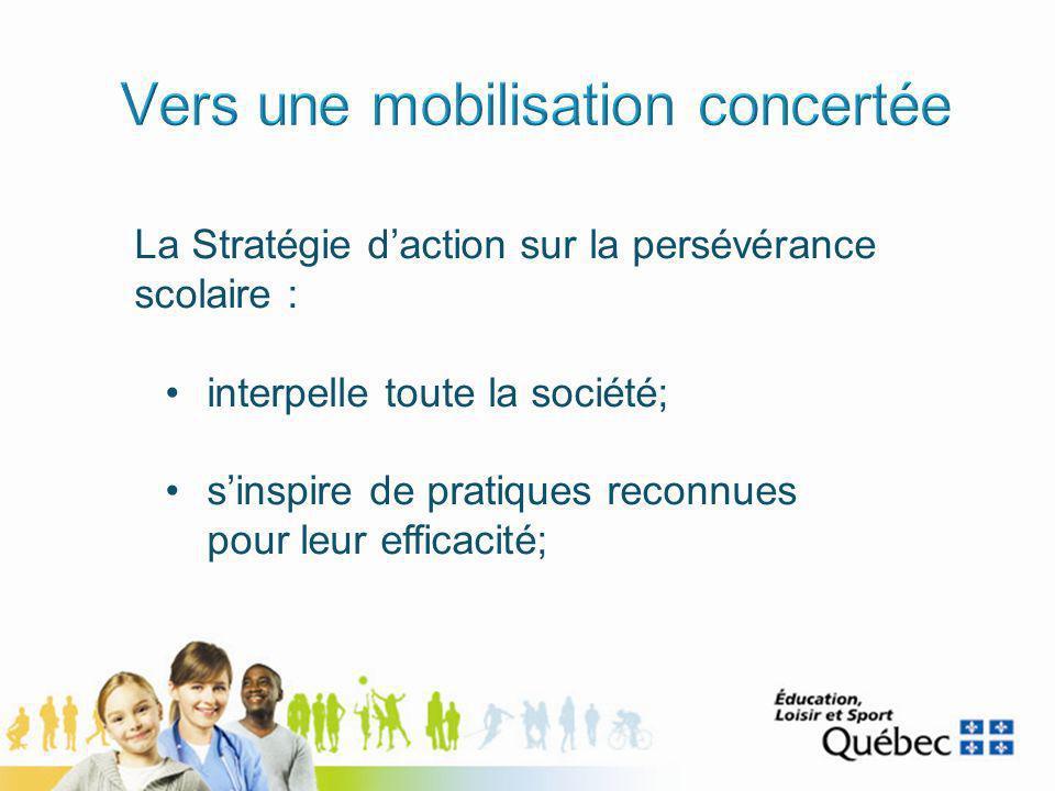 La Stratégie daction sur la persévérance scolaire : interpelle toute la société; sinspire de pratiques reconnues pour leur efficacité;