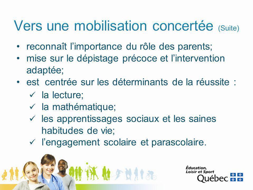Augmentation du taux de diplomation de 7,5 % pour lensemble de la population québécoise Augmentation de 8,8 % chez les garçons Augmentation de 5,5 % chez les moins de 20 ans