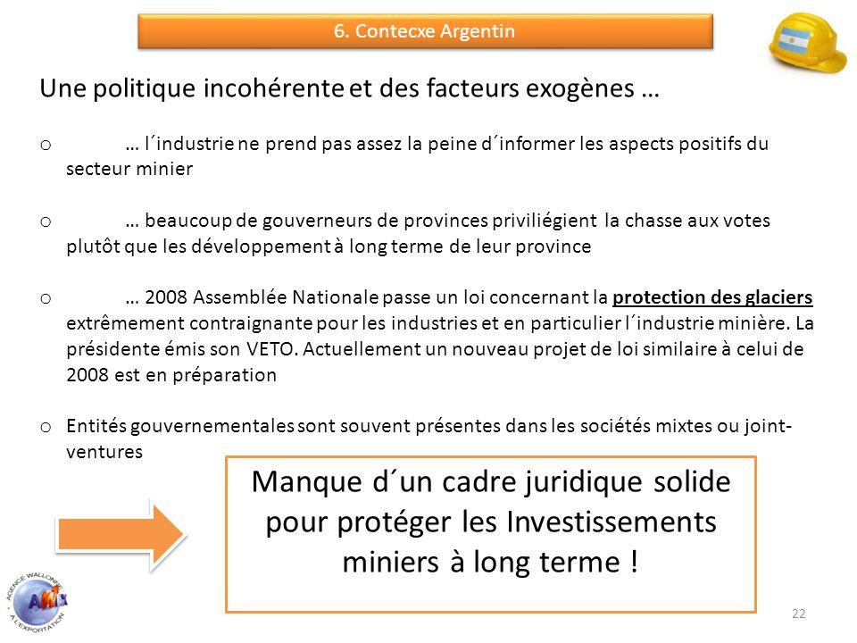 22 Une politique incohérente et des facteurs exogènes … o … l´industrie ne prend pas assez la peine d´informer les aspects positifs du secteur minier