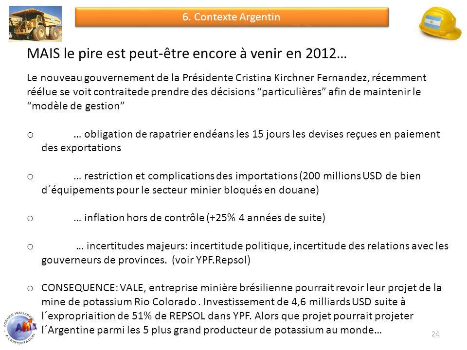 24 MAIS le pire est peut-être encore à venir en 2012… Le nouveau gouvernement de la Présidente Cristina Kirchner Fernandez, récemment réélue se voit contraitede prendre des décisions particulières afin de maintenir le modèle de gestion o … obligation de rapatrier endéans les 15 jours les devises reçues en paiement des exportations o … restriction et complications des importations (200 millions USD de bien d´équipements pour le secteur minier bloqués en douane) o … inflation hors de contrôle (+25% 4 années de suite) o … incertitudes majeurs: incertitude politique, incertitude des relations avec les gouverneurs de provinces.