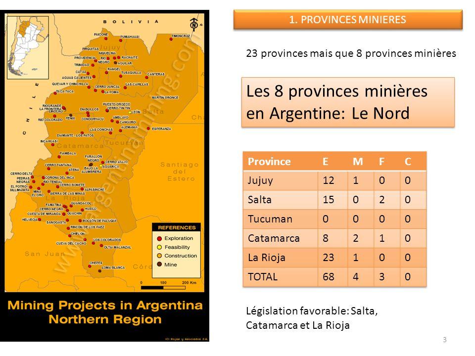 Législation favorable: Salta, Catamarca et La Rioja 3 Les 8 provinces minières en Argentine: Le Nord 1. PROVINCES MINIERES 23 provinces mais que 8 pro