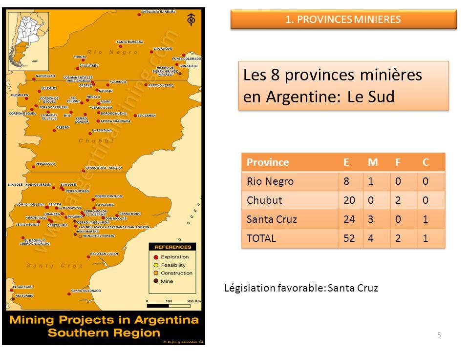 Législation favorable: Santa Cruz 5 Les 8 provinces minières en Argentine: Le Sud 1. PROVINCES MINIERES
