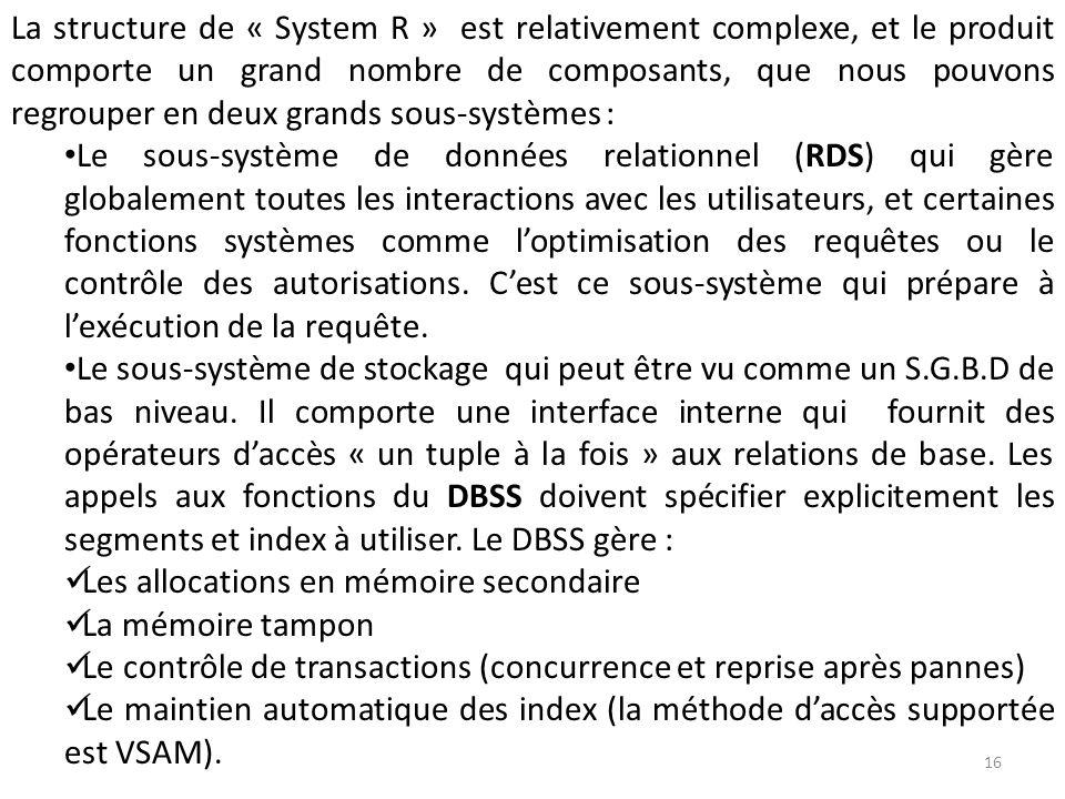La structure de « System R » est relativement complexe, et le produit comporte un grand nombre de composants, que nous pouvons regrouper en deux grand