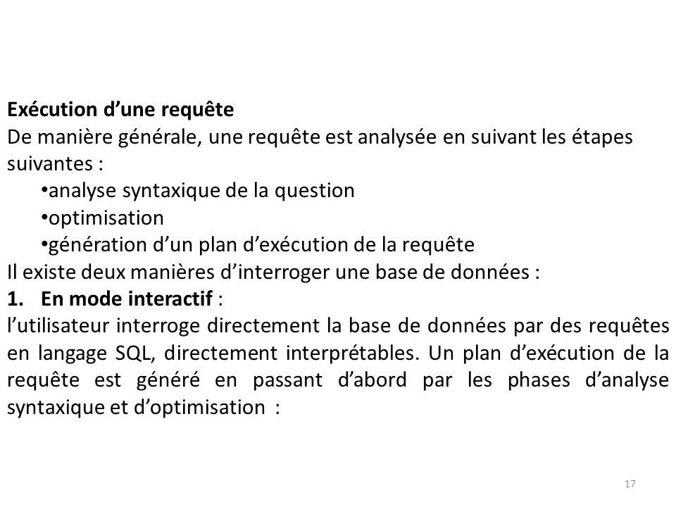 Exécution dune requête De manière générale, une requête est analysée en suivant les étapes suivantes : analyse syntaxique de la question optimisation
