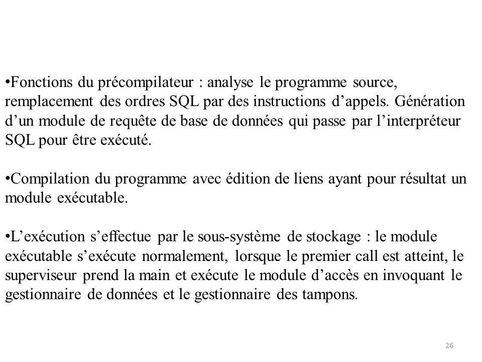 Fonctions du précompilateur : analyse le programme source, remplacement des ordres SQL par des instructions dappels. Génération dun module de requête