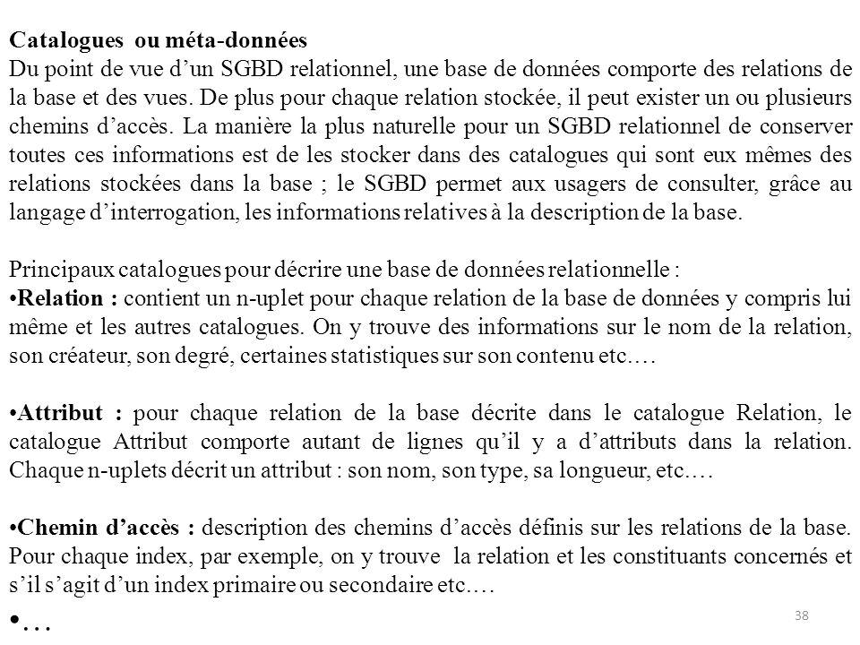 Catalogues ou méta-données Du point de vue dun SGBD relationnel, une base de données comporte des relations de la base et des vues. De plus pour chaqu