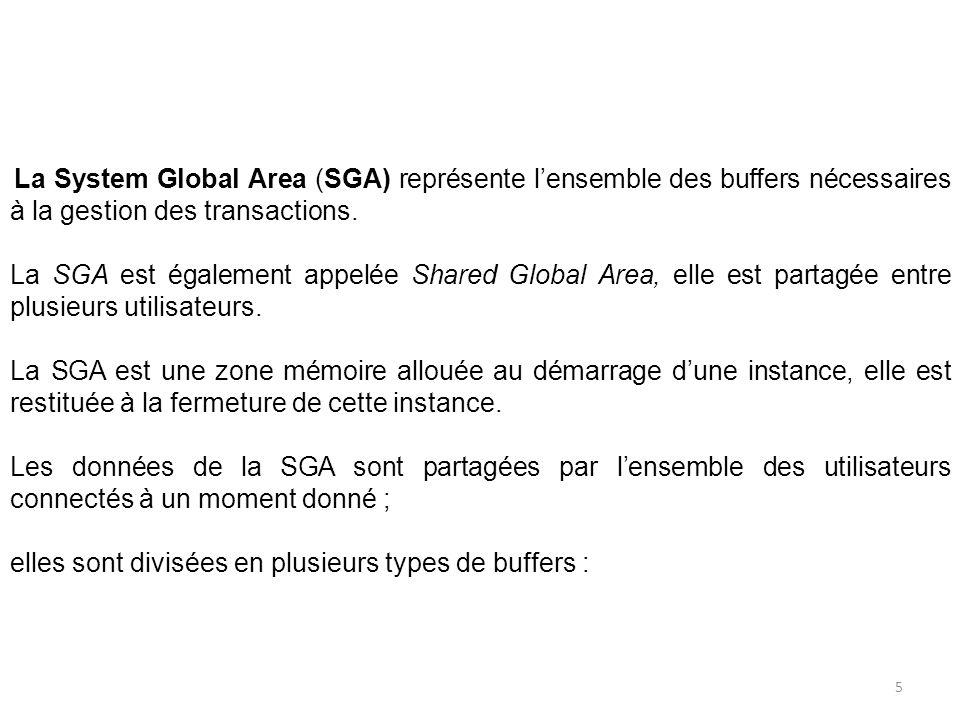 La System Global Area (SGA) représente lensemble des buffers nécessaires à la gestion des transactions. La SGA est également appelée Shared Global Are