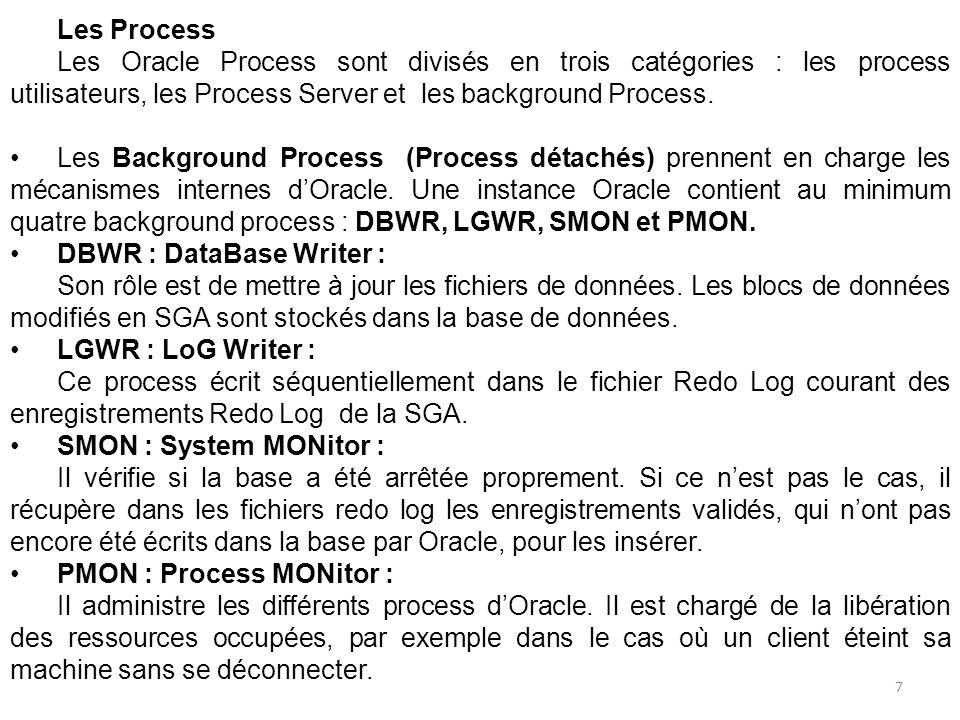 Les autres process sont les suivants : CKPT : Checkpoint ARCH : Archiver RECO : Recover LCKn : LOCK SNPn : Snapshot Refresh Snnn : Shared server Dnnn : Dispatcher Pnnn : Parallel Query 8