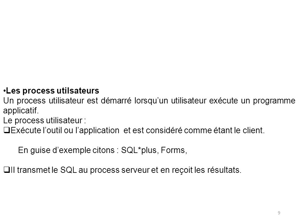 Les process utilsateurs Un process utilisateur est démarré lorsquun utilisateur exécute un programme applicatif. Le process utilisateur : Exécute lout
