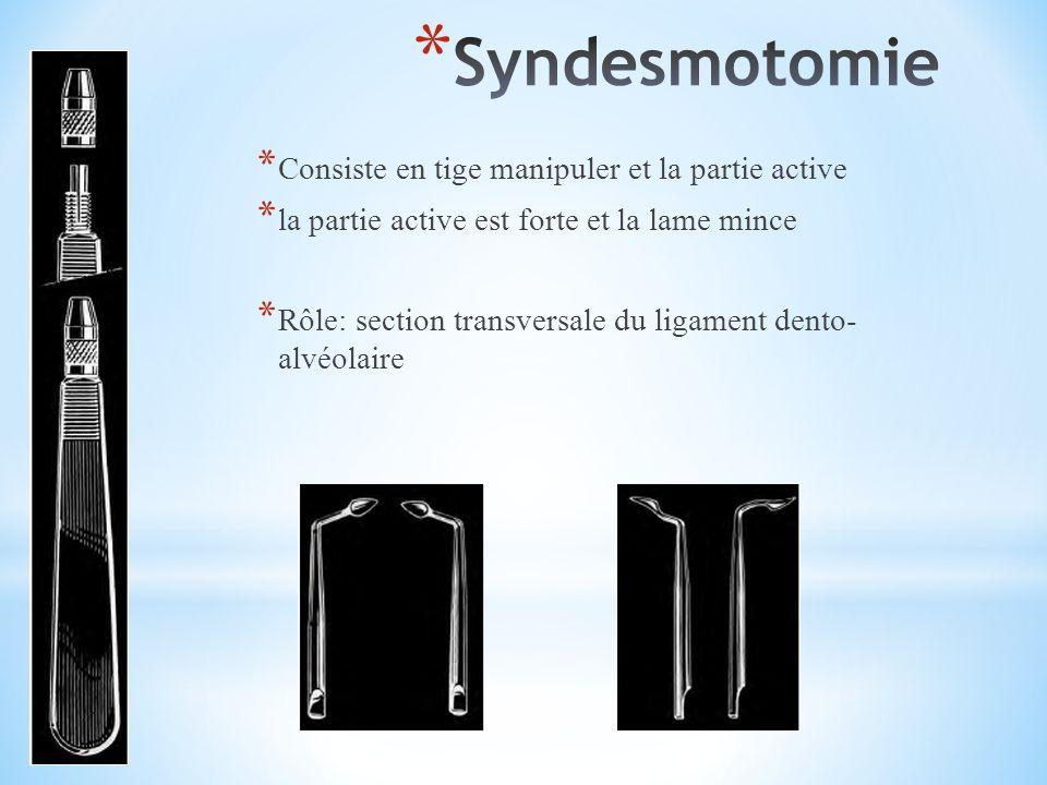 * Consiste en tige manipuler et la partie active * la partie active est forte et la lame mince * Rôle: section transversale du ligament dento- alvéolaire
