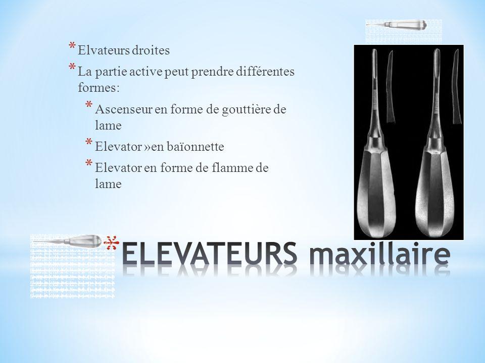 * Elvateurs droites * La partie active peut prendre différentes formes: * Ascenseur en forme de gouttière de lame * Elevator »en baïonnette * Elevator en forme de flamme de lame