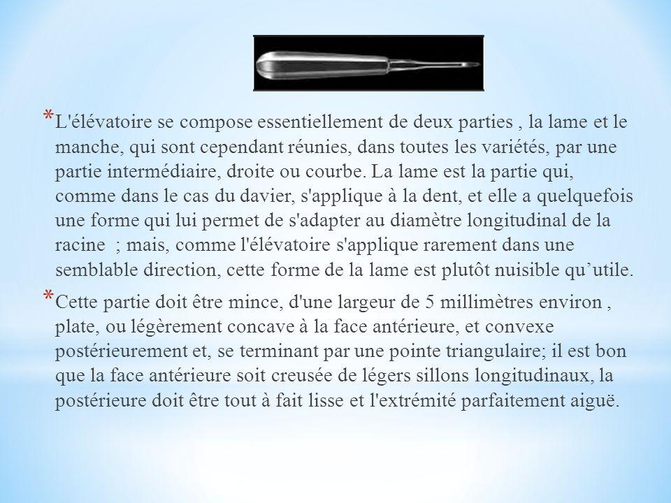 * L élévatoire se compose essentiellement de deux parties, la lame et le manche, qui sont cependant réunies, dans toutes les variétés, par une partie intermédiaire, droite ou courbe.