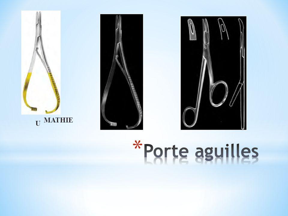 Mâchoires(gerer) sont angle obtus avec(le manche) l axe de poignée pour permettre un fonctionnement dans la dent Les mâchoires sont pliés sur une large La pointe est arrondie L espace entre les mâchoires = 1 cm