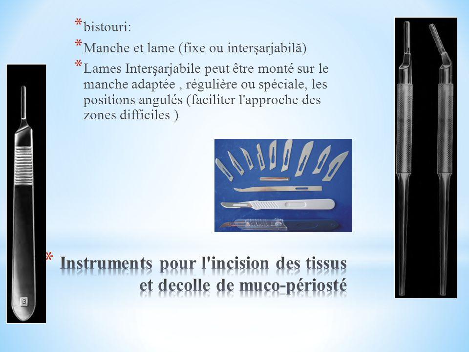 * Instrumentation: dents superiores *.d un élévateur à baïonnette pour les dents supérieures, *.