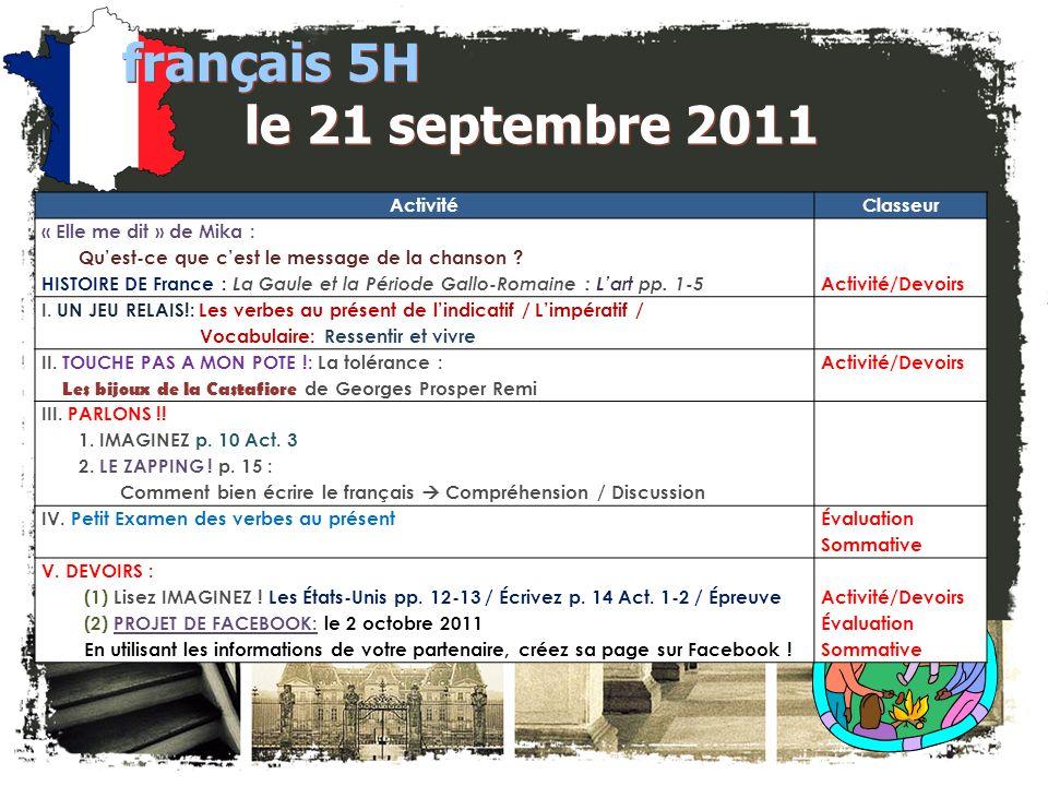 français 5H le 21 septembre 2011 ActivitéClasseur « Elle me dit » de Mika : Quest-ce que cest le message de la chanson .