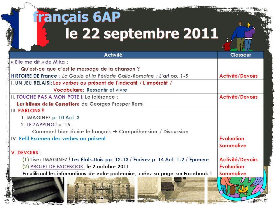 français 6AP le 22 septembre 2011 ActivitéClasseur « Elle me dit » de Mika : Quest-ce que cest le message de la chanson .