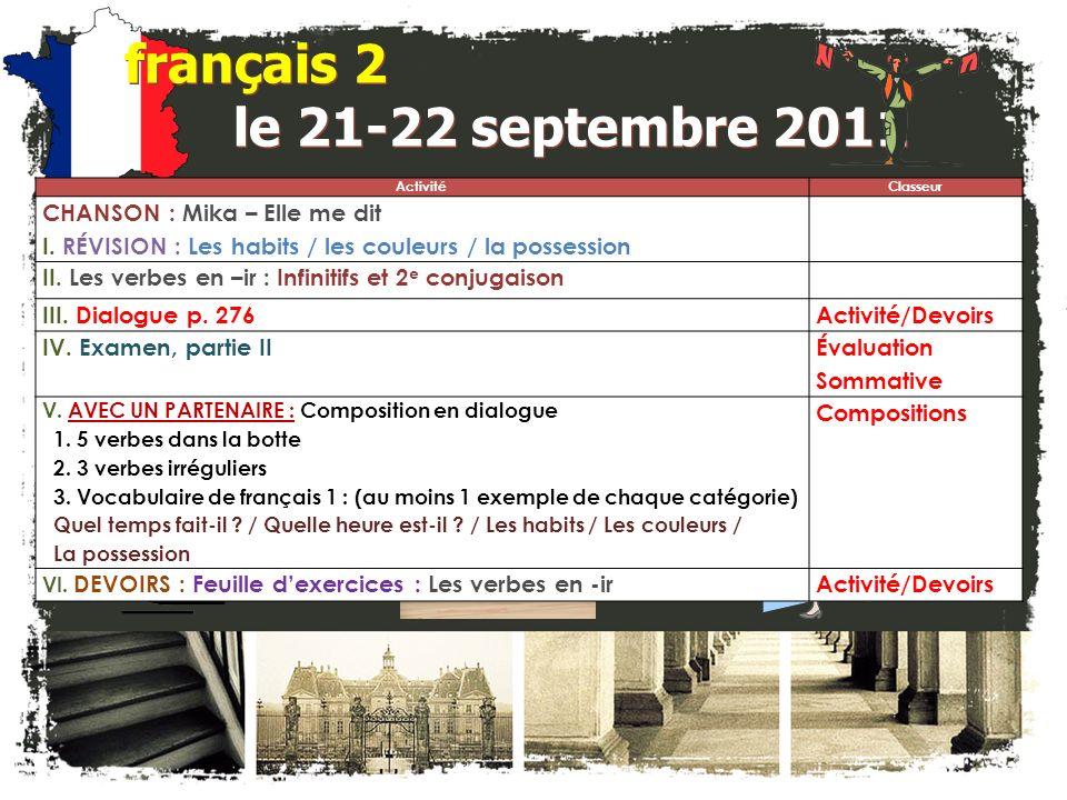 français 2 le 21-22 septembre 2011 ActivitéClasseur CHANSON : Mika – Elle me dit I.