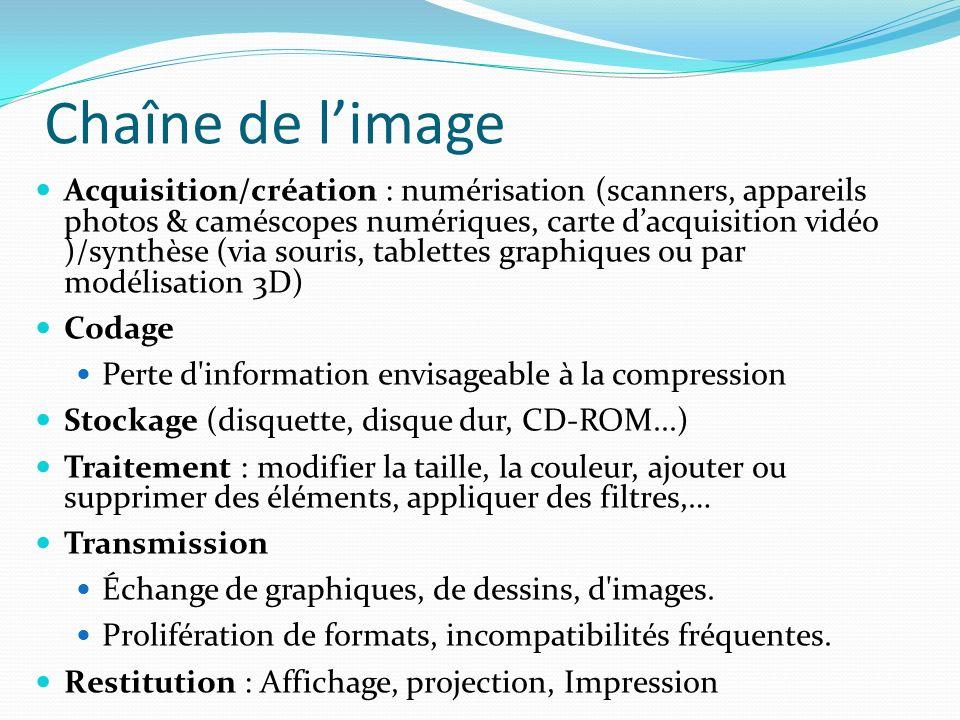 Chaîne de limage Acquisition/création : numérisation (scanners, appareils photos & caméscopes numériques, carte dacquisition vidéo )/synthèse (via sou