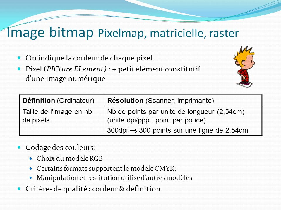 Image bitmap Pixelmap, matricielle, raster On indique la couleur de chaque pixel. Pixel (PICture ELement) : + petit élément constitutif d'une image nu