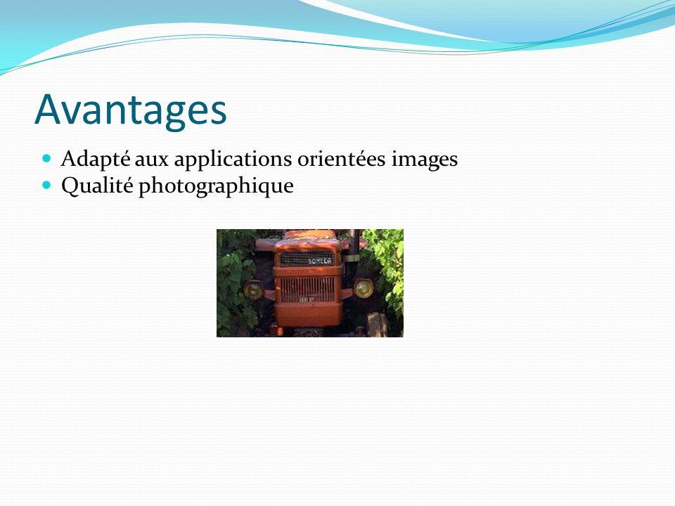 Avantages Adapté aux applications orientées images Qualité photographique