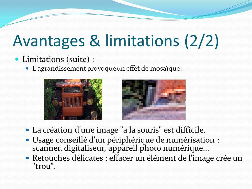 Avantages & limitations (2/2) Limitations (suite) : L agrandissement provoque un effet de mosaïque : La création d une image à la souris est difficile.