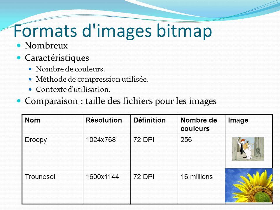 Formats d'images bitmap Nombreux Caractéristiques Nombre de couleurs. Méthode de compression utilisée. Contexte d'utilisation. Comparaison : taille de