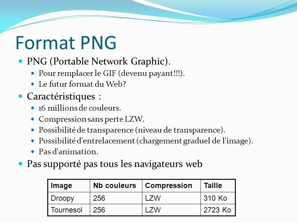 Format PNG PNG (Portable Network Graphic).Pour remplacer le GIF (devenu payant!!!).