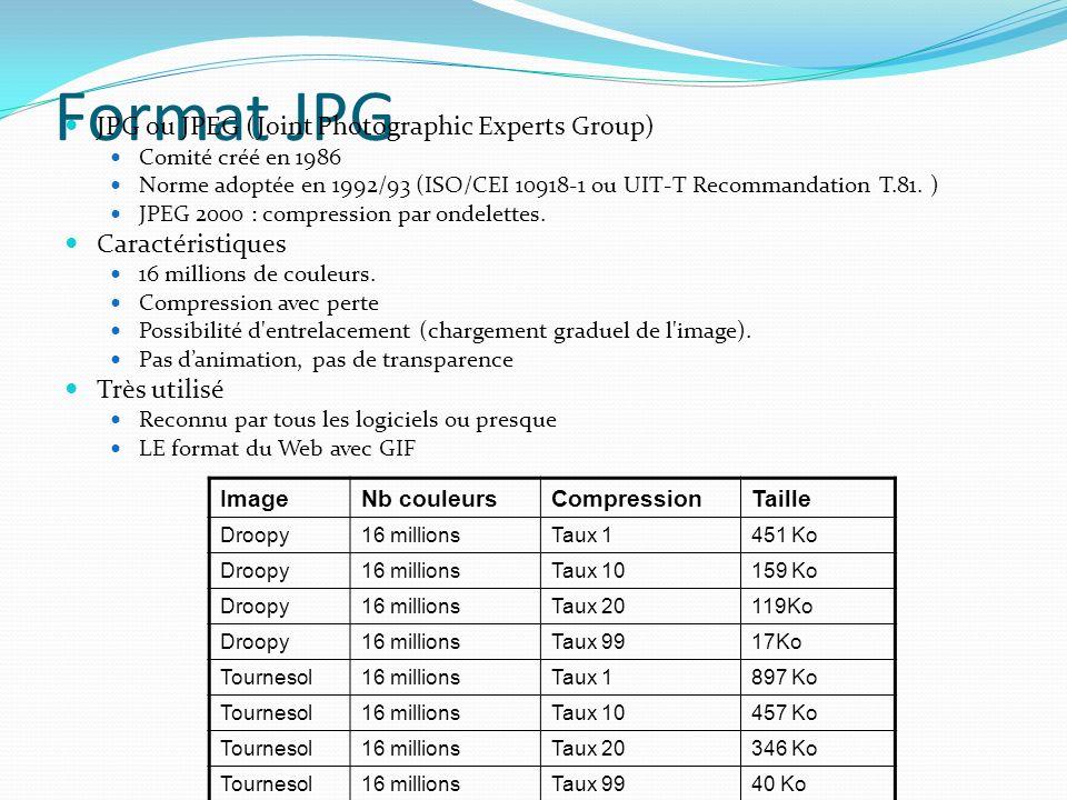 Format JPG JPG ou JPEG (Joint Photographic Experts Group) Comité créé en 1986 Norme adoptée en 1992/93 (ISO/CEI 10918-1 ou UIT-T Recommandation T.81.