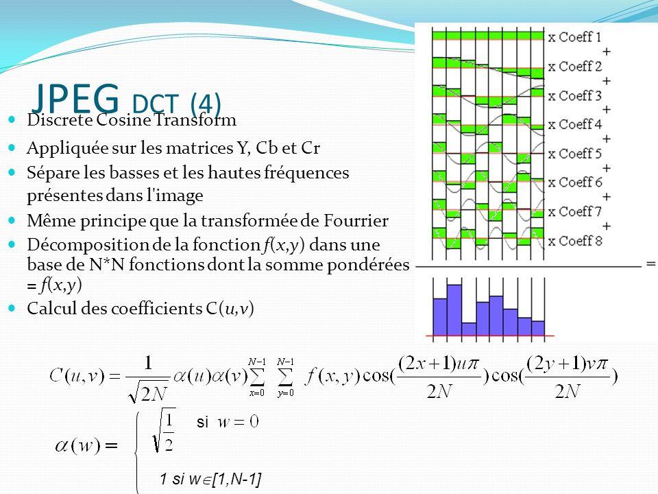 JPEG DCT (4) Discrete Cosine Transform Appliquée sur les matrices Y, Cb et Cr Sépare les basses et les hautes fréquences présentes dans l image Même principe que la transformée de Fourrier Décomposition de la fonction f(x,y) dans une base de N*N fonctions dont la somme pondérées = f(x,y) Calcul des coefficients C(u,v) 1 si w [1,N-1] si