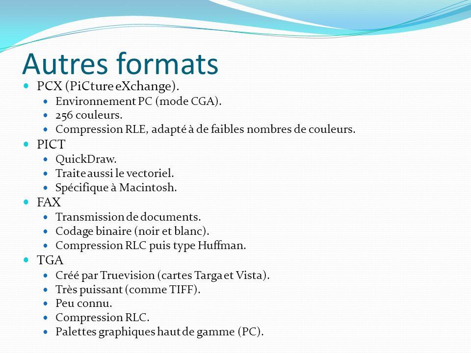 Autres formats PCX (PiCture eXchange). Environnement PC (mode CGA). 256 couleurs. Compression RLE, adapté à de faibles nombres de couleurs. PICT Quick
