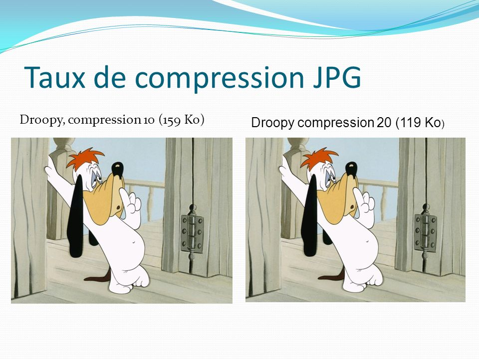 Taux de compression JPG Droopy, compression 10 (159 Ko) Droopy compression 20 (119 Ko )