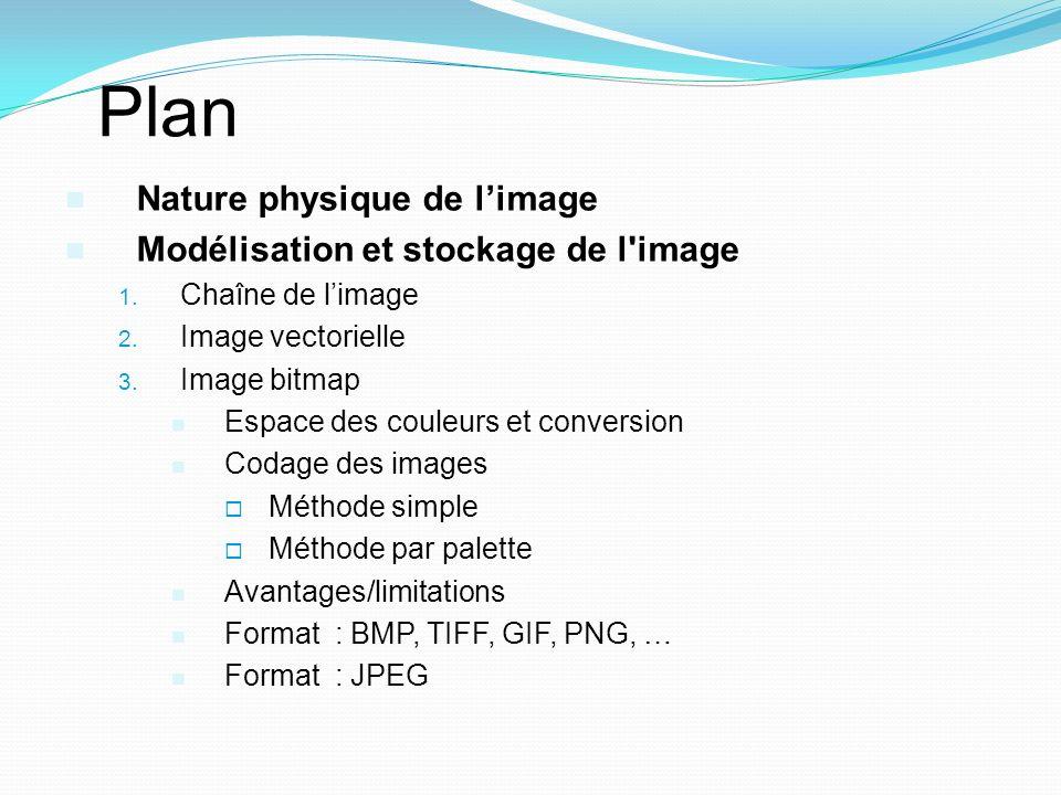 Plan Nature physique de limage Modélisation et stockage de l'image 1. Chaîne de limage 2. Image vectorielle 3. Image bitmap Espace des couleurs et con