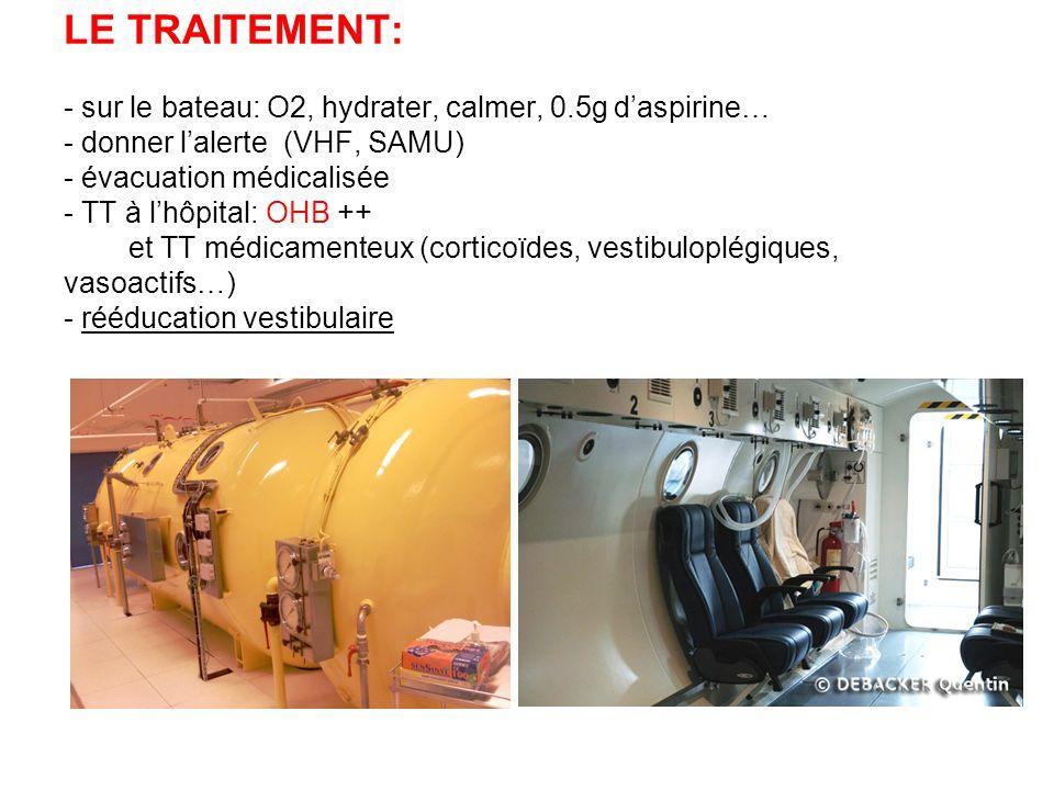 LE TRAITEMENT: - sur le bateau: O2, hydrater, calmer, 0.5g daspirine… - donner lalerte (VHF, SAMU) - évacuation médicalisée - TT à lhôpital: OHB ++ et