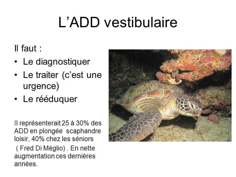 LADD vestibulaire Il faut : Le diagnostiquer Le traiter (cest une urgence) Le rééduquer Il représenterait 25 à 30% des ADD en plongée scaphandre loisi
