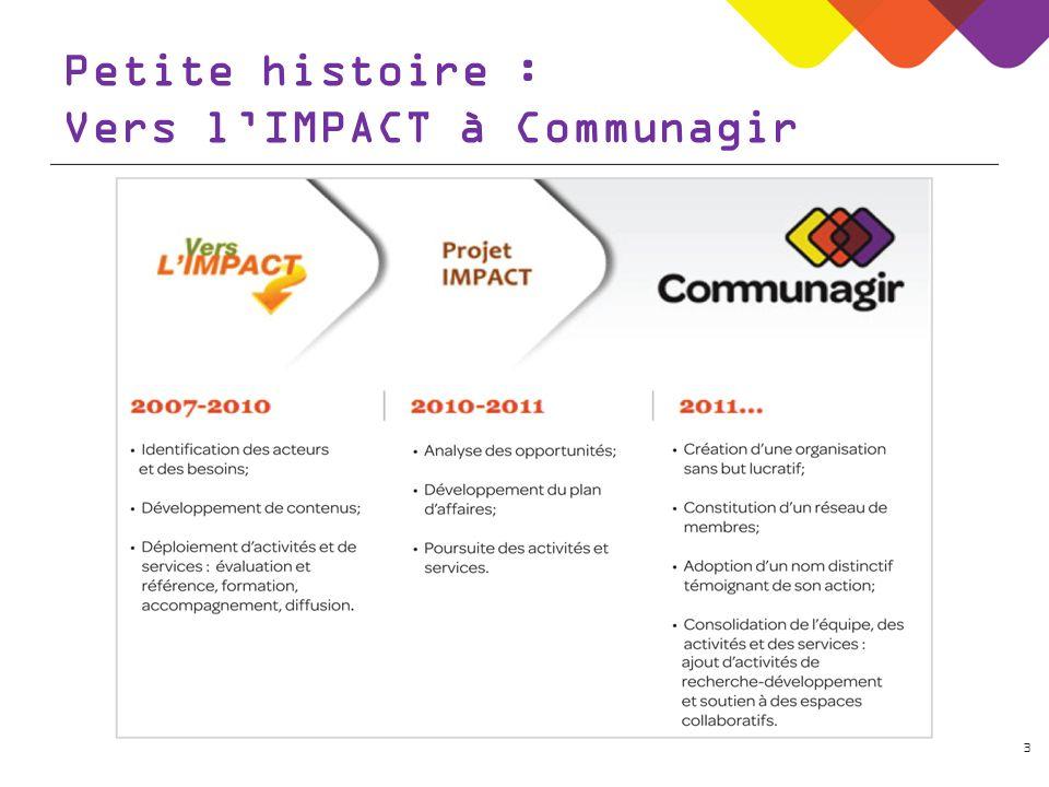 3 Petite histoire : Vers lIMPACT à Communagir