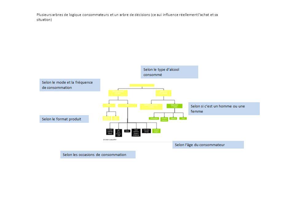 Plusieurs arbres de logique consommateurs et un arbre de décisions (ce aui influence réellement lachat et sa situation)
