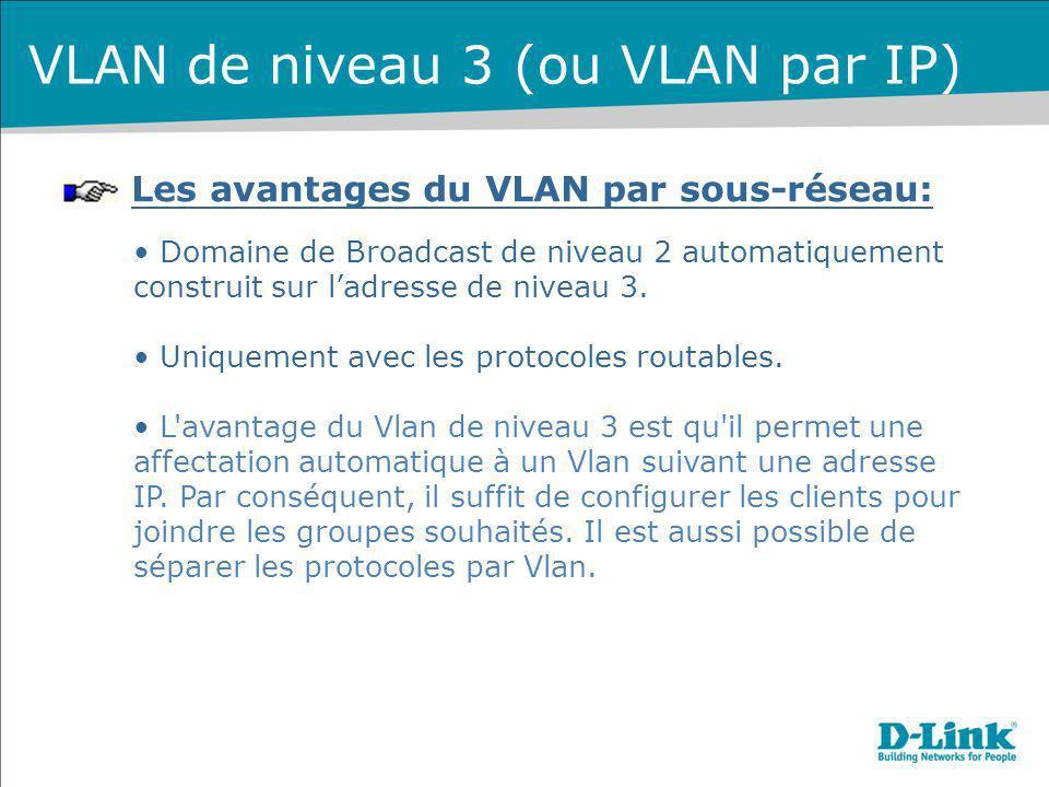 Les avantages du VLAN par sous-réseau: Domaine de Broadcast de niveau 2 automatiquement construit sur ladresse de niveau 3. Uniquement avec les protoc