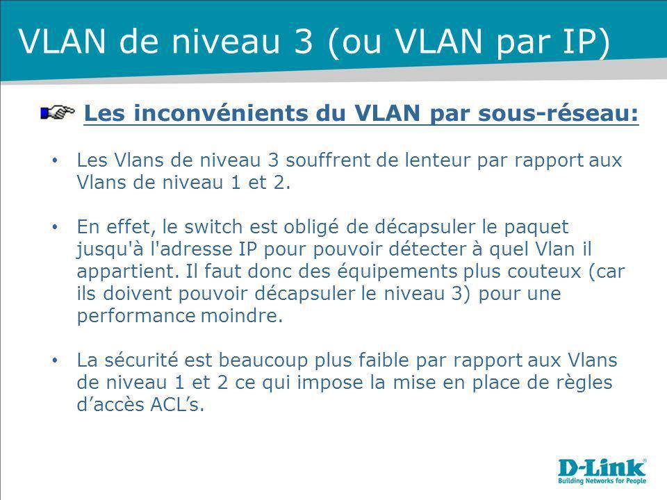 Les inconvénients du VLAN par sous-réseau: Les Vlans de niveau 3 souffrent de lenteur par rapport aux Vlans de niveau 1 et 2. En effet, le switch est