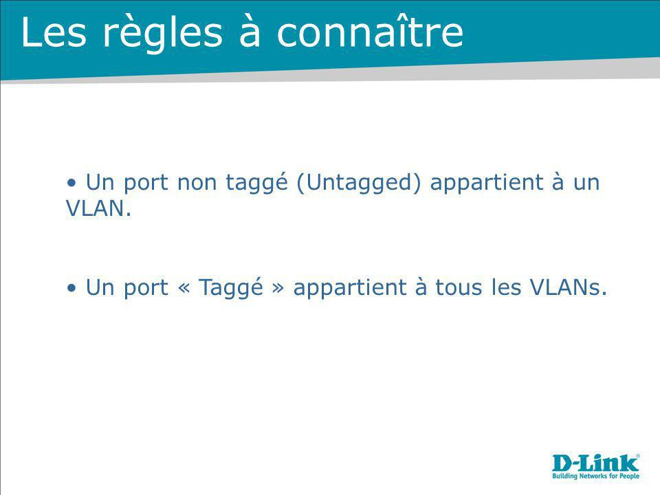 Les règles à connaître Un port non taggé (Untagged) appartient à un VLAN. Un port « Taggé » appartient à tous les VLANs.