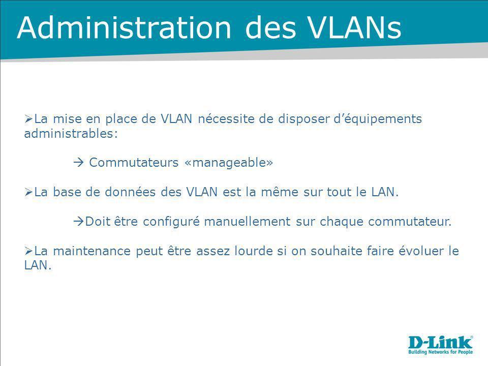 Administration des VLANs La mise en place de VLAN nécessite de disposer déquipements administrables: Commutateurs «manageable» La base de données des