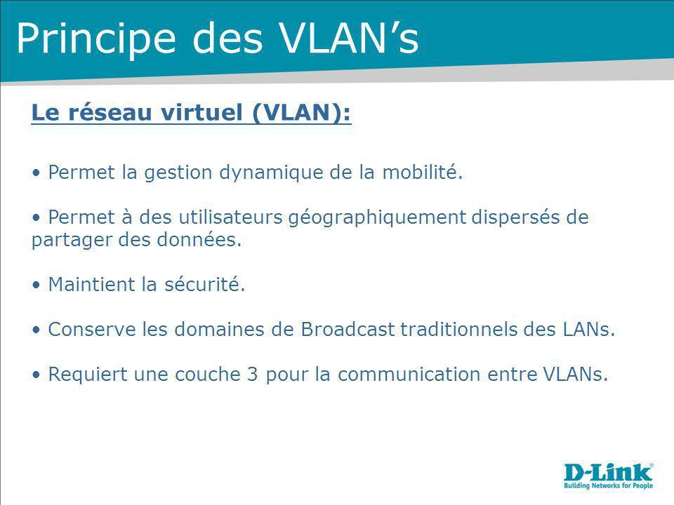 Le réseau virtuel (VLAN): Permet la gestion dynamique de la mobilité. Permet à des utilisateurs géographiquement dispersés de partager des données. Ma