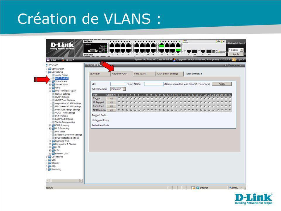 Création de VLANS :