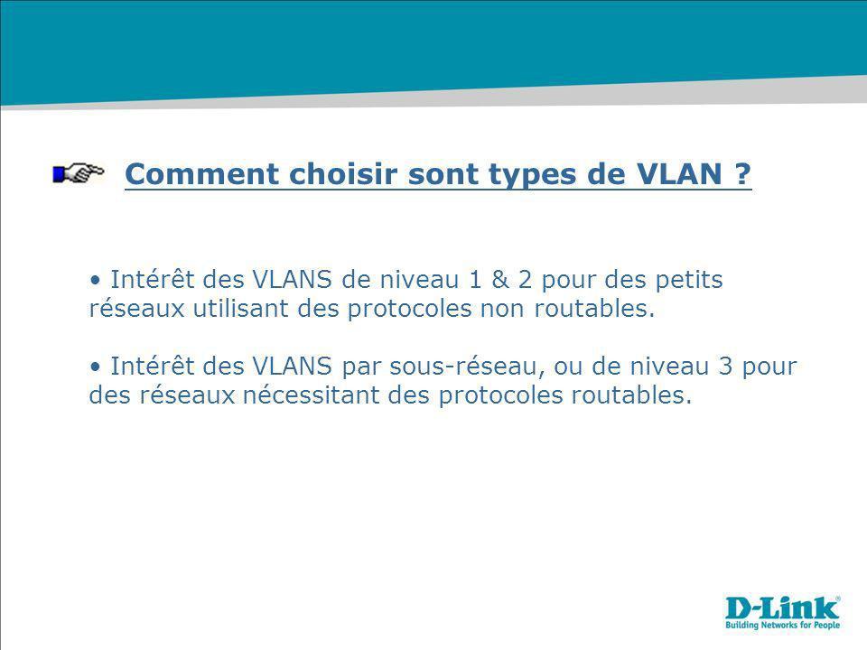 Comment choisir sont types de VLAN ? Intérêt des VLANS de niveau 1 & 2 pour des petits réseaux utilisant des protocoles non routables. Intérêt des VLA