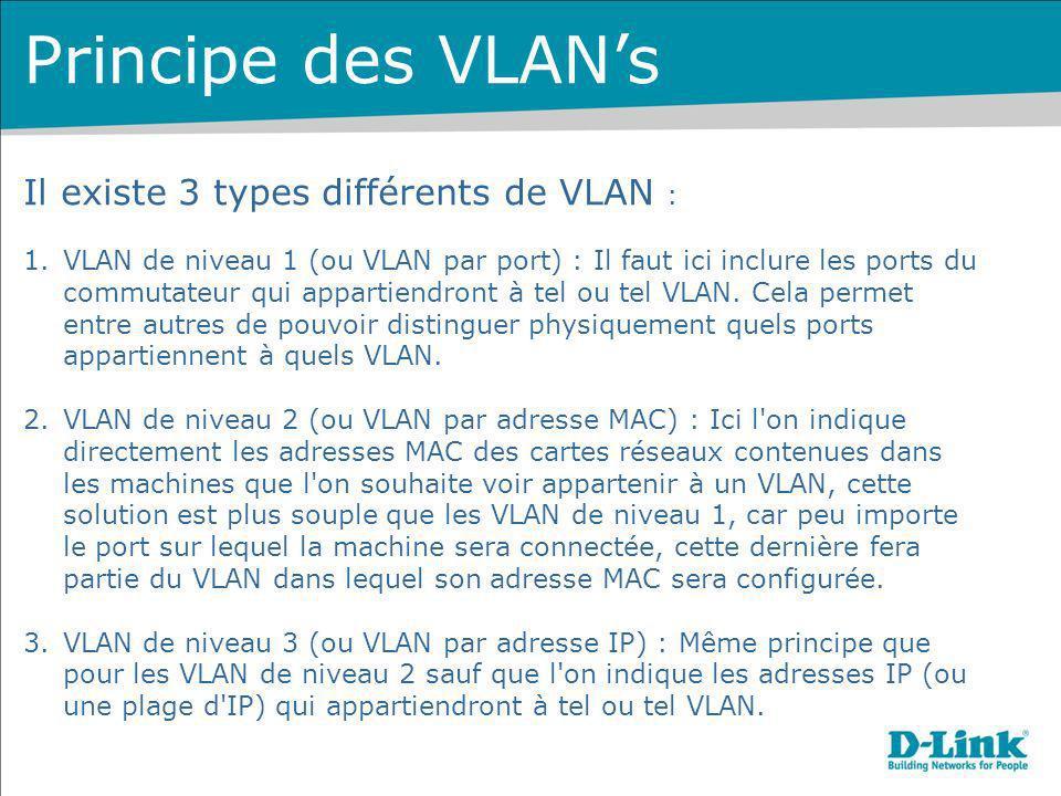 Il existe 3 types différents de VLAN : 1.VLAN de niveau 1 (ou VLAN par port) : Il faut ici inclure les ports du commutateur qui appartiendront à tel o