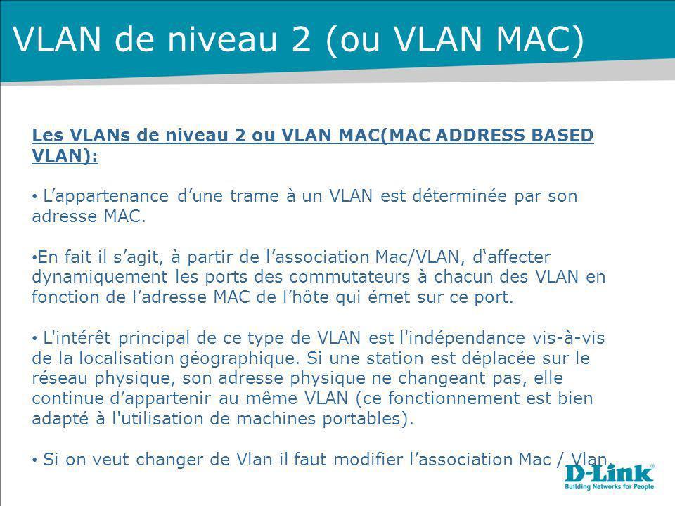 Les VLANs de niveau 2 ou VLAN MAC(MAC ADDRESS BASED VLAN): Lappartenance dune trame à un VLAN est déterminée par son adresse MAC. En fait il sagit, à