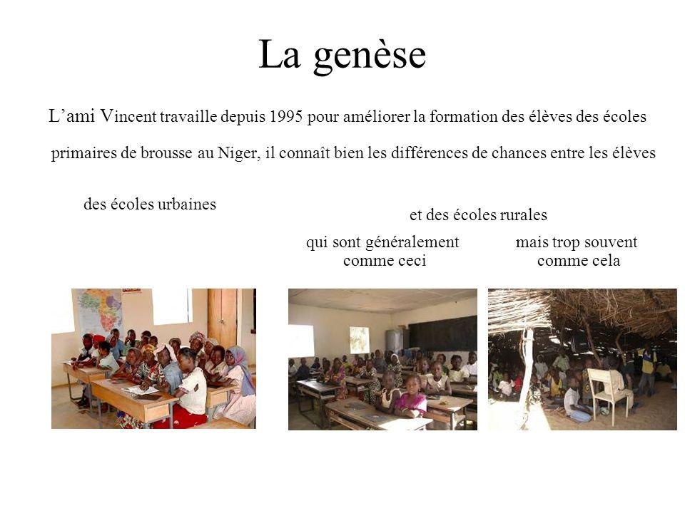 La genèse Lami V incent travaille depuis 1995 pour améliorer la formation des élèves des écoles primaires de brousse au Niger, il connaît bien les différences de chances entre les élèves des écoles urbaines et des écoles rurales qui sont généralement comme ceci mais trop souvent comme cela