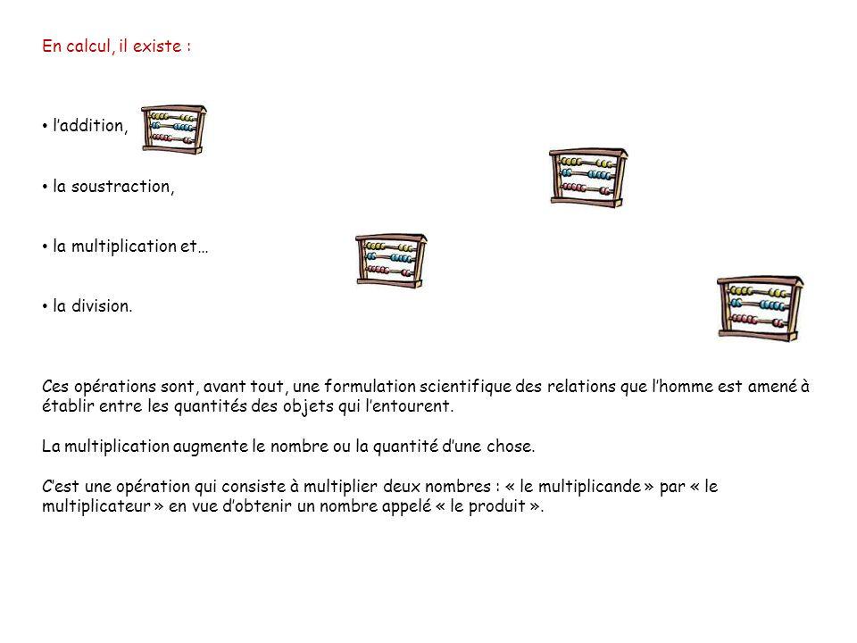 En calcul, il existe : laddition, la soustraction, la multiplication et… la division.