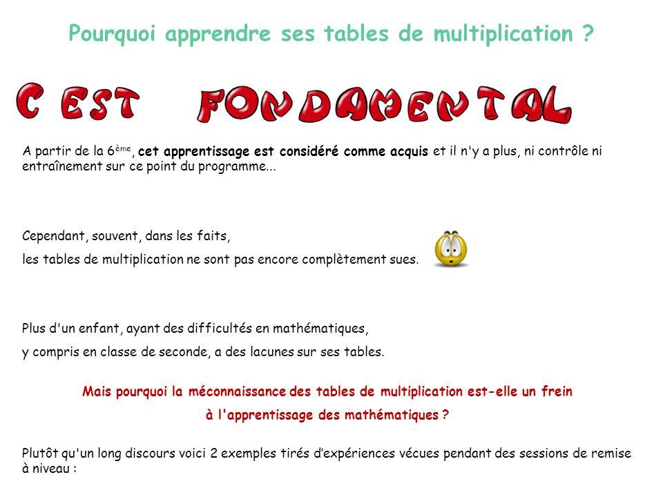 Mais pourquoi la méconnaissance des tables de multiplication est-elle un frein à l apprentissage des mathématiques .