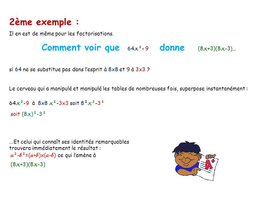 2ème exemple : Il en est de même pour les factorisations.
