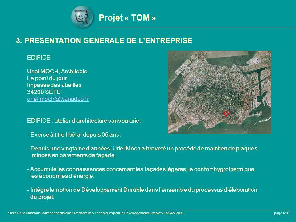 Steve Raïlo Marchal : Soutenance diplôme Architecture & Techniques pour le Développement Durable - ENSAM 2006page 4/26 Projet « TOM » 3.